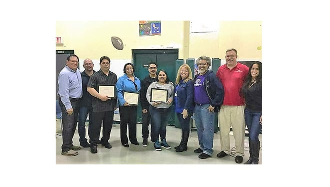 (From left) Former Club board member Bob Romano, honorees Angel Rivera, Comcast; Jimmy Borrero, Cornerstone Bookstore; Juanita Nazario, human services director, Cumberland County; Javier Cruz and Annabelle Juarez, Milly's Restaurant;  Club board president Shirley Santos; board vice president Michael Morton; Club director Chris Volker; and board member Shirley Bertacchi, were recognized during a Hispanic Heritage Month Celebration at The Boys & Girls Club of Vineland.