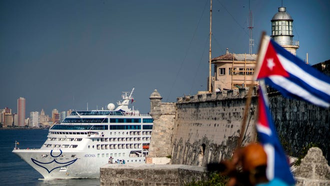 Carnival's Fathom cruise line ship Adonia arrives in Havana from Miami on May 2, 2016.