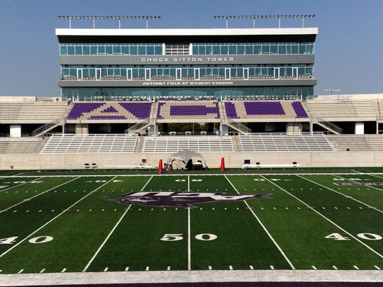 Chuck Sitton Tower overlooks Anthony Field at Abilene Christian University's Wildcat Stadium, which opened for the 2017 home football season, ACU's first as a Division 1 team.