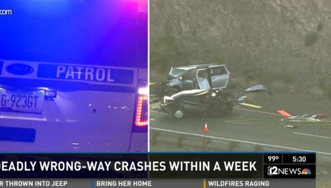 Three wrong-way crashes on Arizona freeways in six days have claimed the lives of seven people.