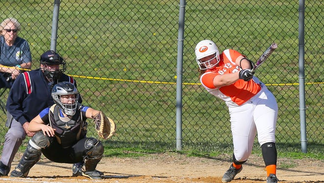 Cumberland's Haley Hulitt hits a home run against Hammonton in the Fred Powell Tournament on April 1. Hulitt has starred at the plate and in the circle for the red-hot Colts.