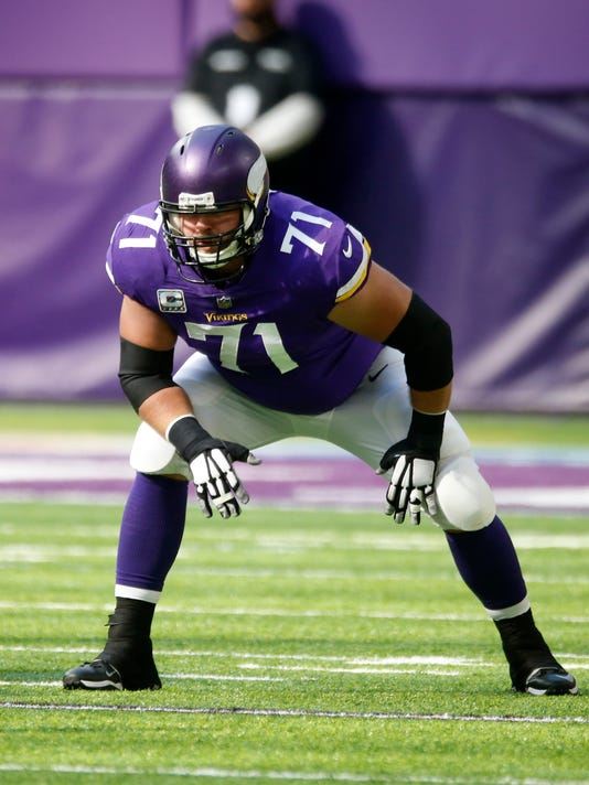 FILE- Tis Oct. 22, 2017, file photo shows Minnesota Vikings offensive tackle Riley Reiff getting set for a play during the first half of an NFL football game against the Baltimore Ravens in Minneapolis.  There's no change for the Minnesota Vikings this season that has made more of an impact than the addition of left tackle Reiff. The Vikings visit Detroit on Thursday, Nov. 23, 2017, with Reiff headed to face his old team the Lions. (AP Photo/Jim Mone. File)