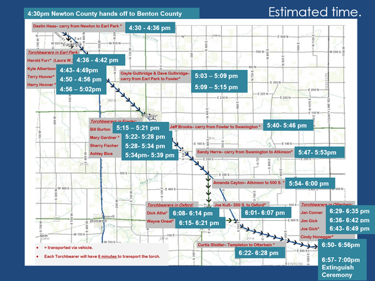 Benton County Torch Relay route map.PNG