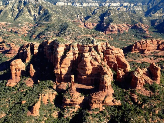 The red rocks of Sedona as seen from above.