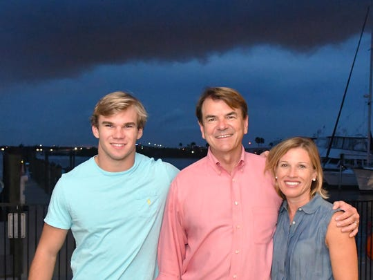 Thad Altman with his son, Sullivan, 17, and wife Mary Pat, at his campaign party at the Eau Gallie Yacht Club grill.