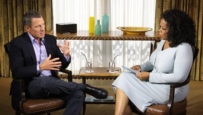 Lance Armstrong, left, was interviewed by Oprah Winfrey five years ago and admitted to doping during his cycling career.