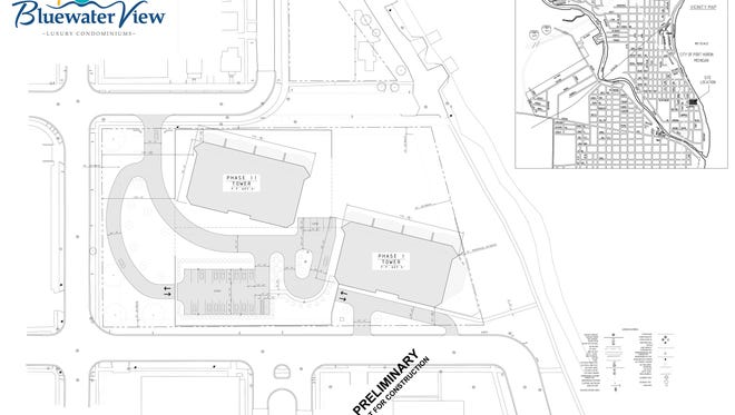 Site plan for the Bluewater View condominium.