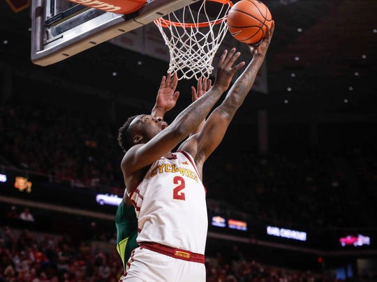 Iowa State freshman Cameron Lard lays up a shot against Baylor at Hilton Coliseum in Ames on Saturday, Jan. 13, 2018.