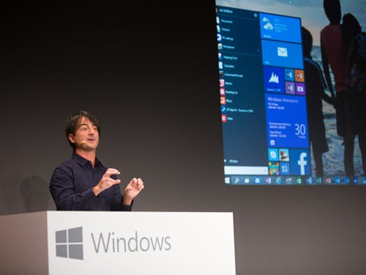 On Tuesday at an event in San Francisco, Microsoft unveiled a preview of Windows 10 - the next version of its operating system. Here,Microsoft exec Joe Belfiore shows the new Start menu.