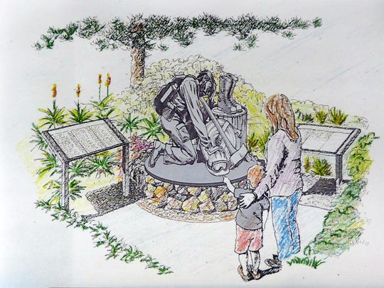 Sketch shows the concept for a bronze memorial honoring New Mexico's fallen firefighters.