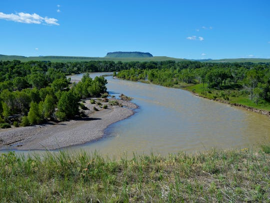 The Sun River flows northeast passed Simms and Crown Butte, June 26, 2018. On June 18th the river reached flood stage causing moderate flooding in the town of Sun River and in low lying areas West of Great Falls.