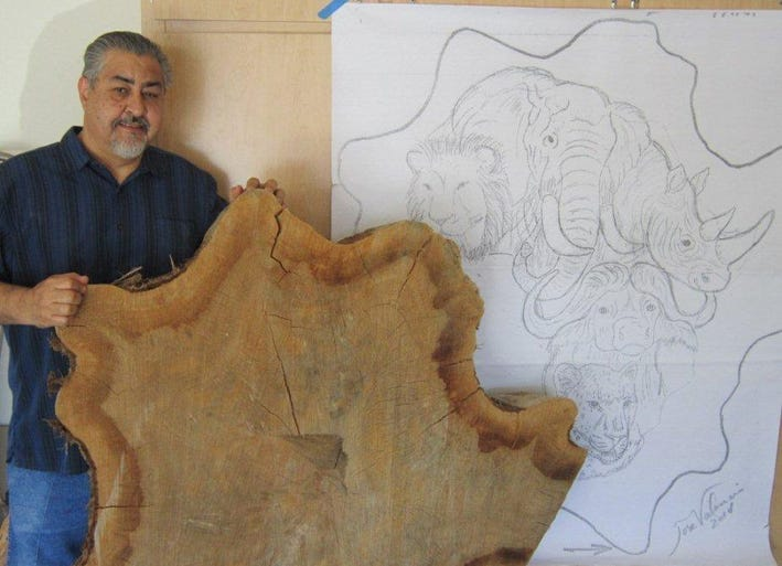 Jose Valencia began his project with the base of a cypress tree and a drawing.