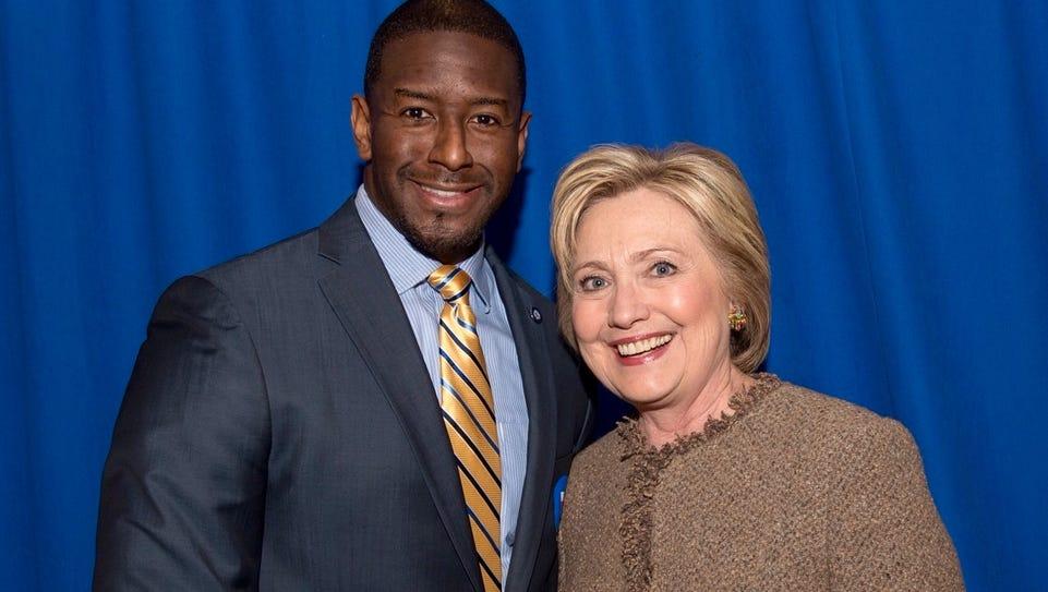 Tallahassee Mayor Andrew Gillum with Hillary Clinton