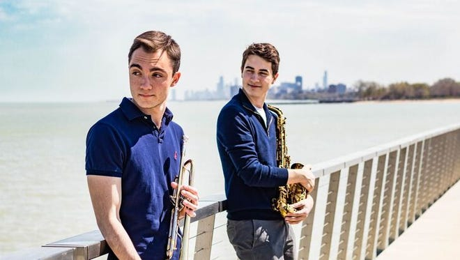 Jazz musicians and collaborators Sam Wolsk, left, and Louis Danowsky take time out from practicing at Northwestern University.