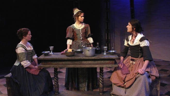 """Dani Cochrane, Maeyson Menzel and Janet Haley in the World Premiere of """"Our Lady of Poison"""" by Joseph Zettelmaier at the Williamston Theatre."""