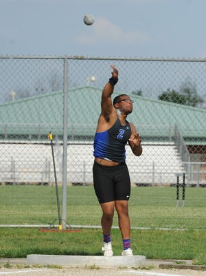 Leo Crosby competes in the shot put during the Division I regional finals Friday, May 27, 2016, at Pickerington North High School.