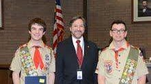 Pictured from left to right is Carter Coudriet, Mayor Brian Levine of Franklin, and Dylan Hutt.