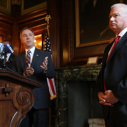 State Assembly Speaker Robin Vos, R-Rochester, left, speaks about the  state budget deliberations during a press conference at the state Capitol in Madison on Wednesday, July 1, 2015.  Senate Majority Leader Scott Fitzgerald, R-Juneau, is at right.