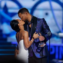 Divorcing? Not us. Will Smith and Jada Pinkett Smith at Black Girls Rock award ceremony at the New Jersey Performing Arts Center, Saturday, March 28, 2015, in Newark, N.J.