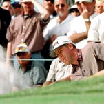Shreveport native Hal Sutton blasts from a bunker during The Players Championship in March. Sutton went on to win the tournament.