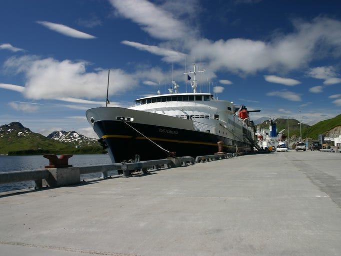 The Tustumena awaiting departure in Homer.