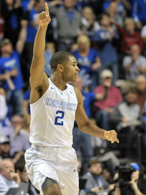 Kentucky and guard Aaron Harrison (2) are the No. 1 overall seed in the NCAA tournament bracket announced Sunday.