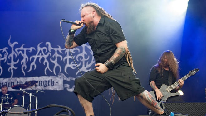 Rafal Piotrowski of the death metal band Decapitated, pictured here performing at Bloodstock Festival in August, was one of the band members arrested in connection with kidnapping.