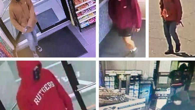 Rochester police have released surveillance images of suspects being sought in connection with a five recent robberies. They are, clockwise from lower left, the Nouria gas station convenience store on Milton Road on Sept. 14, the same Nouria station on Sept. 20, the Citizens Bank inside Hannaford supermarket on Sept. 11, the same bank at Hannaford on Sept. 21 and the Irving Circle K on Gonic Road on Sept. 19. So far suspects have been arrested only in connection with the Irving Circle K robbery.