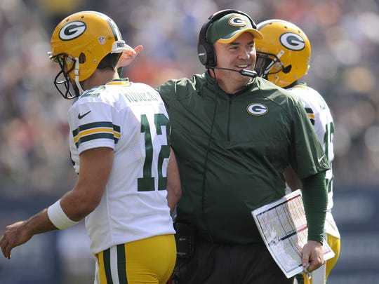 Coach Mike McCarthy is all smiles after the Packers