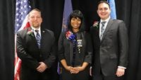 New Westland councilmembers Jim Hart (left), Tasha Green and Michael Londeau at their swearing in ceremony.