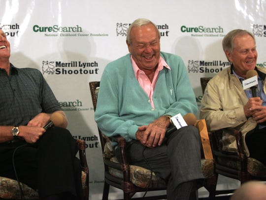 From left: Golf greats Greg Norman, Arnold Palmer and