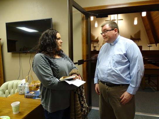 Audra Wipert speaks with Orchard Hill's the Rev. Terry