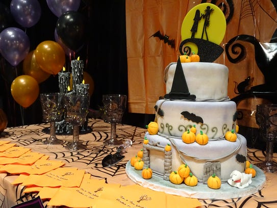 Cake and decorations at the Gambill's Halloween themed