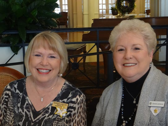 Barbara Kirkland and Dianne Lawrence at P.E.O. Founders''