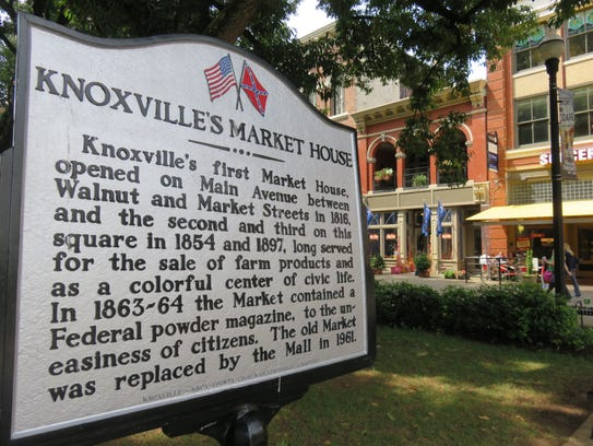 Sign details the history of Market Square's various