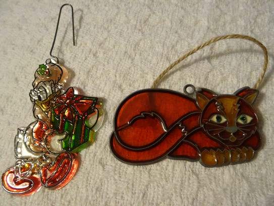 Two ornaments made by Leigh and her mother when Leigh was a child.