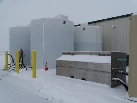 Brine tanks holding a total of 40,000 gallons of solution
