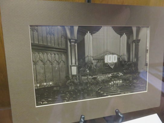 A photo on display shows former church nave during