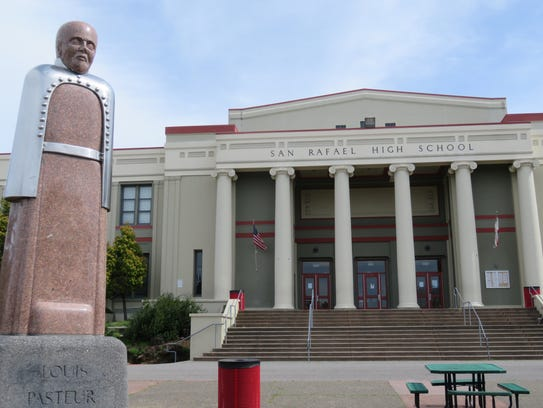 The Louis Pasteur statue at San Rafael High School