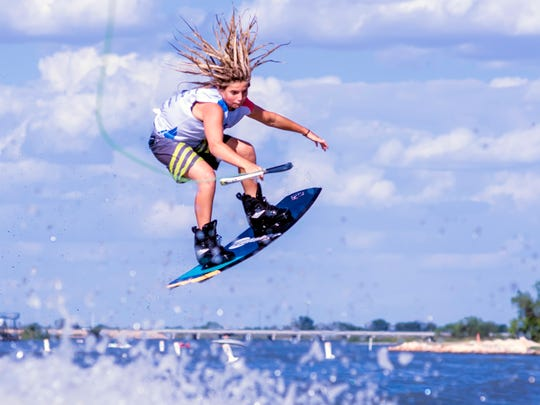 Rocker Steiner, 13, competes in the outlaw class during the Wake the Desert competition July 22, 2017, in Lake Nasworthy.