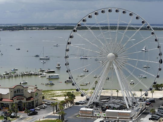 An aerial view of the 360 Pensacola observation wheel when it was berthed at Pensacola Beach.