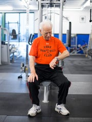 Frank Spellman does a regular weightlifting workout at Acceleration Fitness in Gulf Breeze, Florida, Monday, May 30, 2016. Spellman won an Olympic gold medal in the 1948 games.