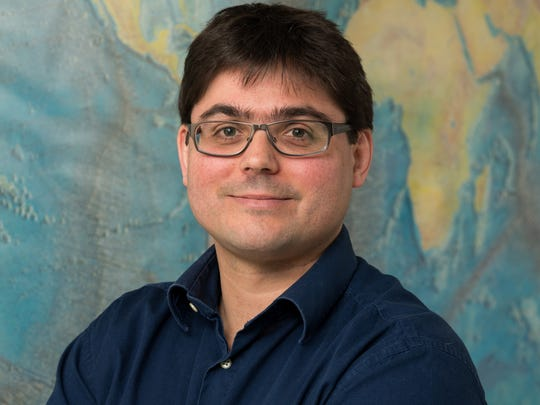 College of Earth, Ocean, and Environment faculty member Tobias Kukulka, assistant professor in the School of Marine Science and Policy and recipient of an NSF CAREER (The Faculty Early Career Development) Award for his research on plastic pollution in the ocean.