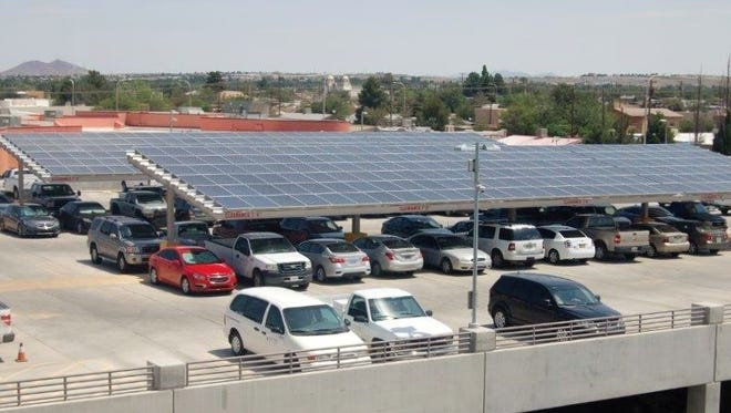 The photovoltaic system on the Las Cruces City Hall rooftop parking shade structures produces approximately 100 kilowatts. The 2016 Community Investment Project solar projects will provide six times as much energy.