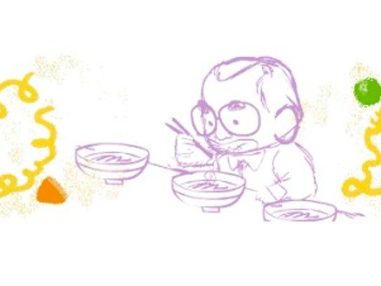 A Google Doodle honoring Momofuku Ando.
