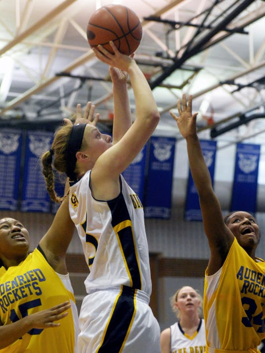 Greencastle-Antrim's Katie Gelsinger, middle, shoots against Audenried's Jaquay Williams, left, and Labriyah Smith, right, on Saturday in the PIAA Class AAA first round. Gelsinger finished with eight points and 14 rebounds in the Blue Devils' 55-33 win.