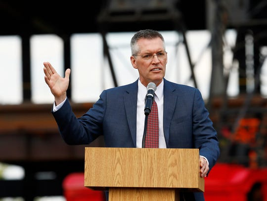 Director of Athletics, Pat Hobbs speaks during the