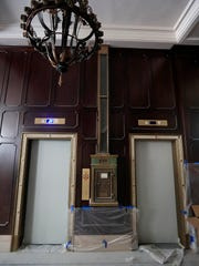 The elevators in the lobby are shown at the Hotel Northland