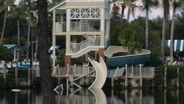 A slide at the Eagle Harbor pool in Fleming Island collapsed Thursday evening.