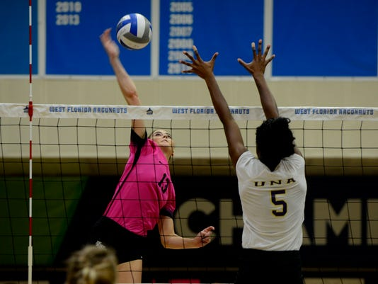 UWF Volleyball Pack it Pink Game 1
